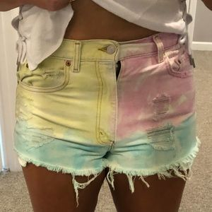 Levi Distressed Pink Yellow Tie Dye Cut-Off Jeans